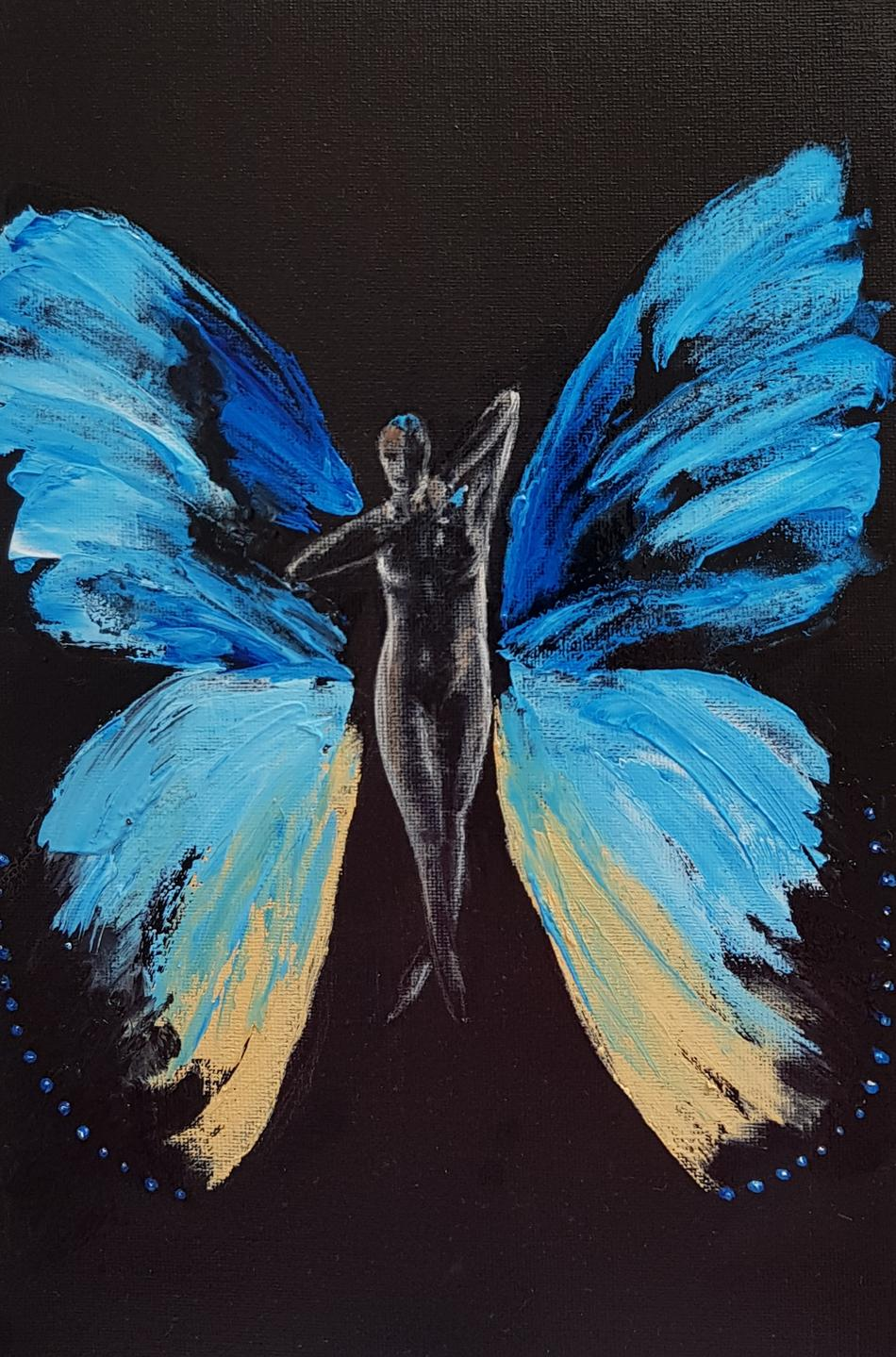 Blue woman butterfly