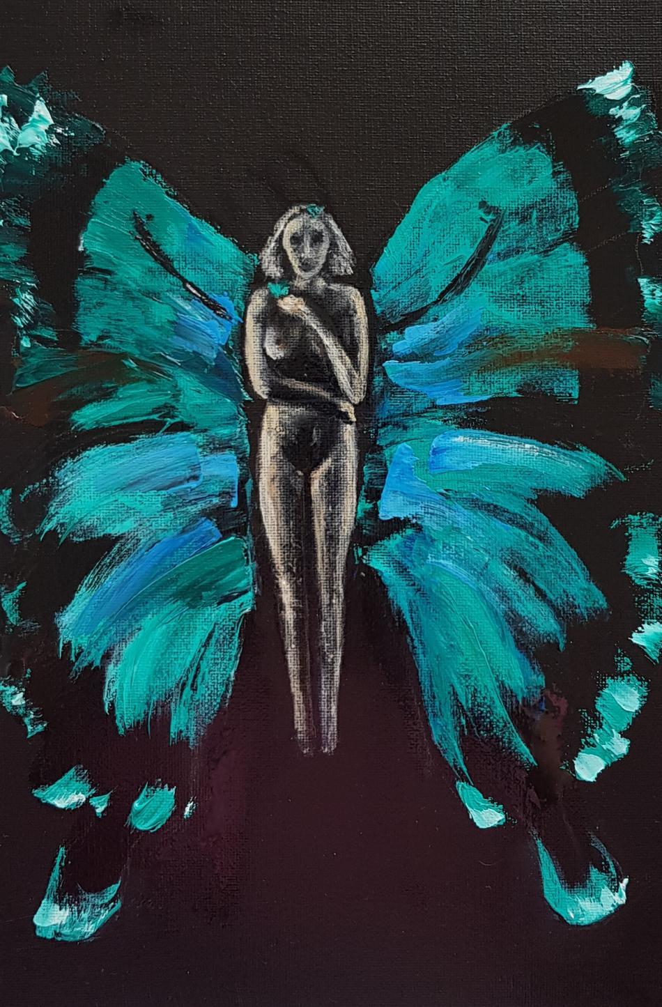 Green women butterfly
