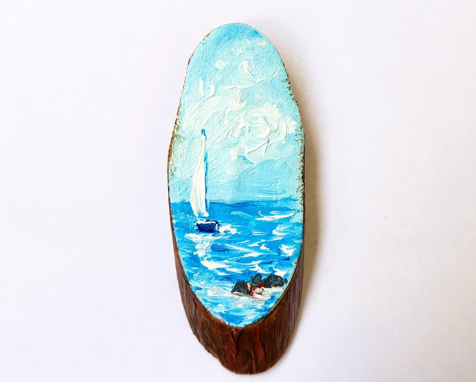 Sailboat miniature ACEO