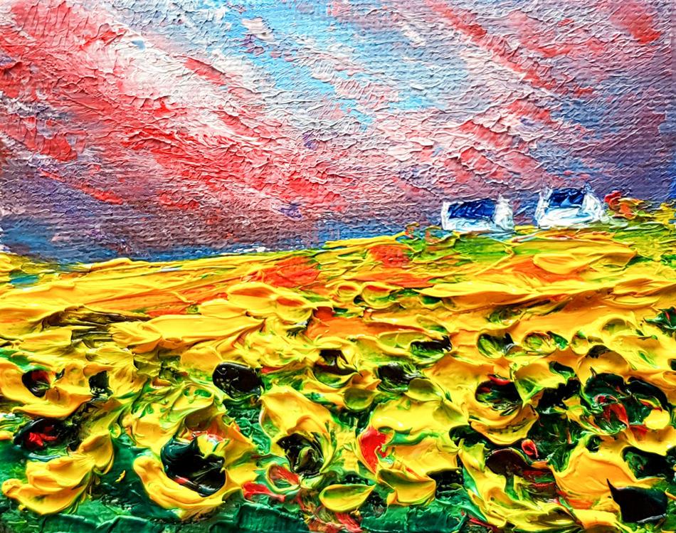 Sunflower landscape Aceo
