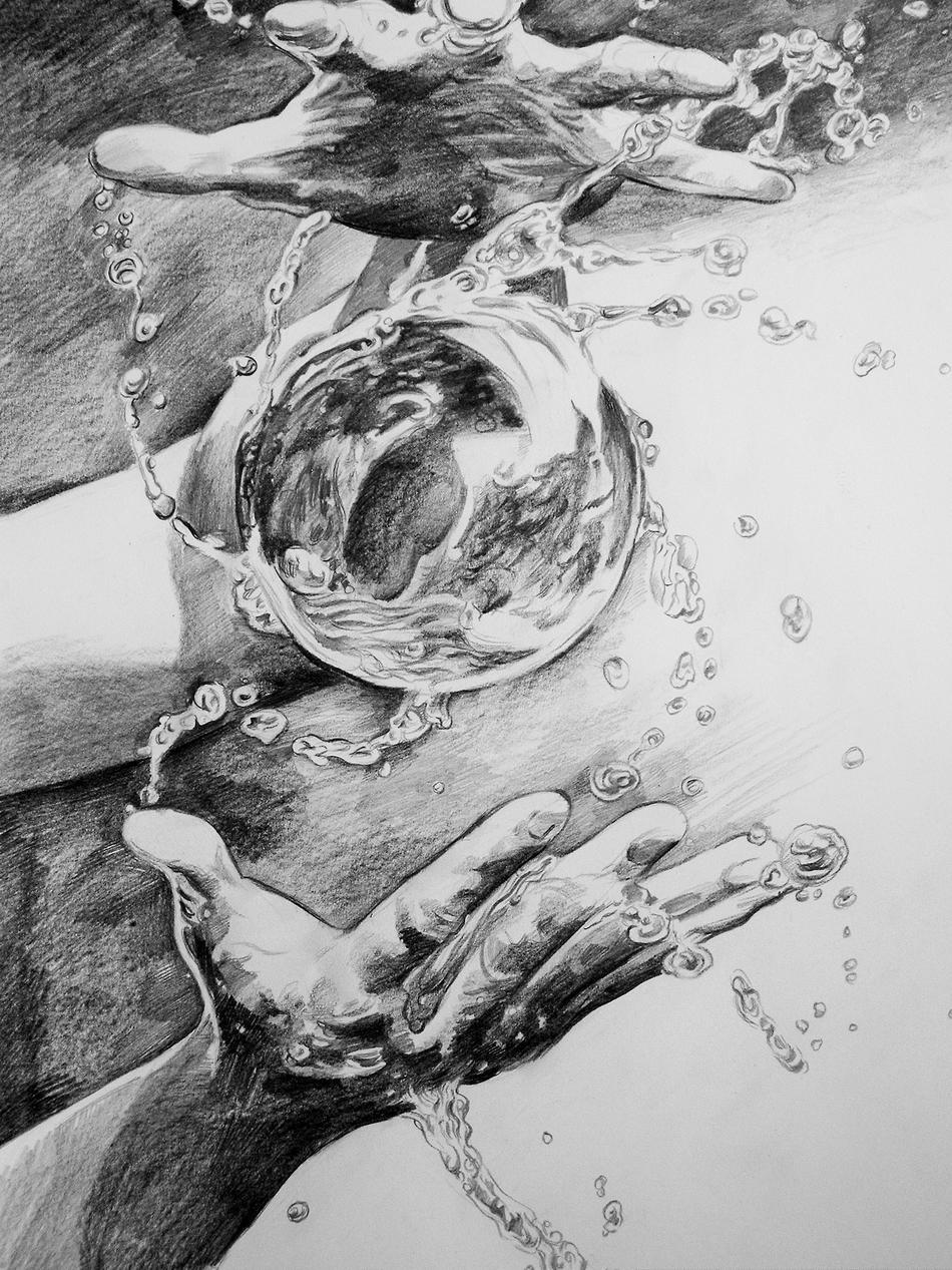Hände und Wasserball