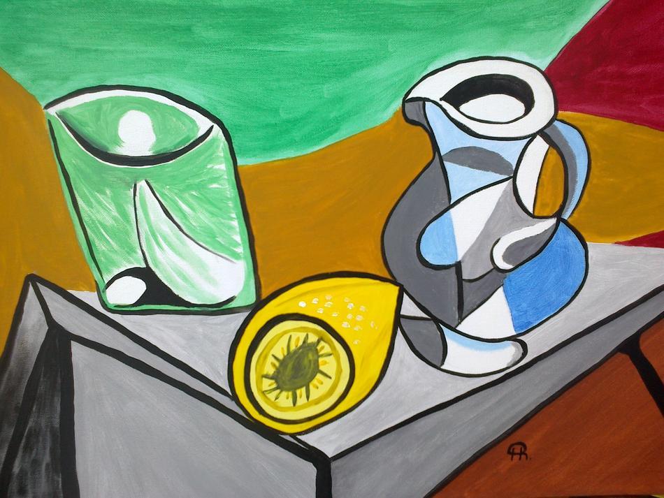 Krug, Glas und Zitrone