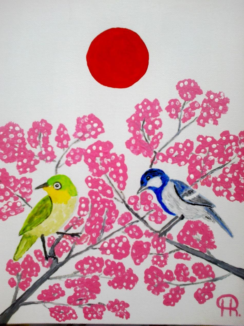 Zwei Vögel im Kirschbaum