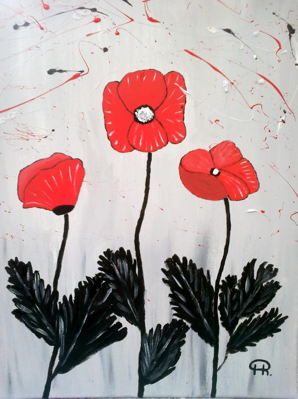 Bild Blumen in rot,schwarz, grau