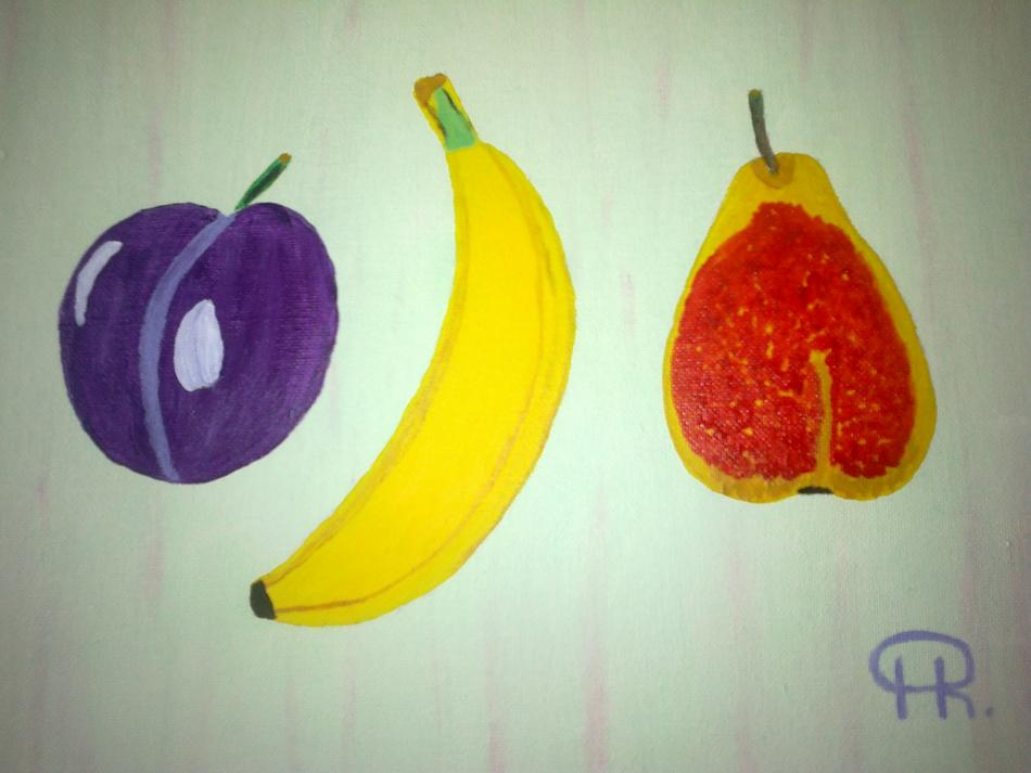 Pflaume, Banane, Birne.