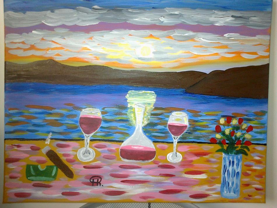Rotwein und Sonnenuntergang