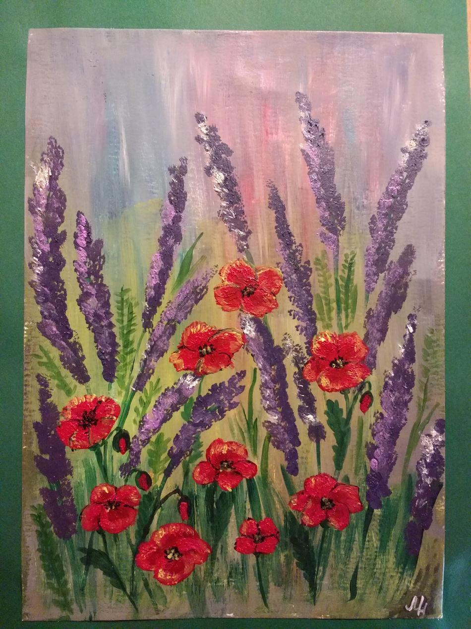 Kunstwerk Mohnblumen und Lavendel von Marischa