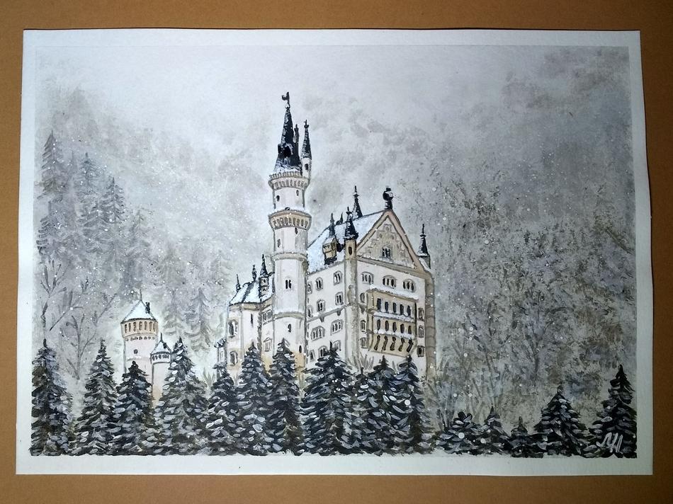 Kunstwerk Schloss Neuschwanstein Im Winter Von Marischa