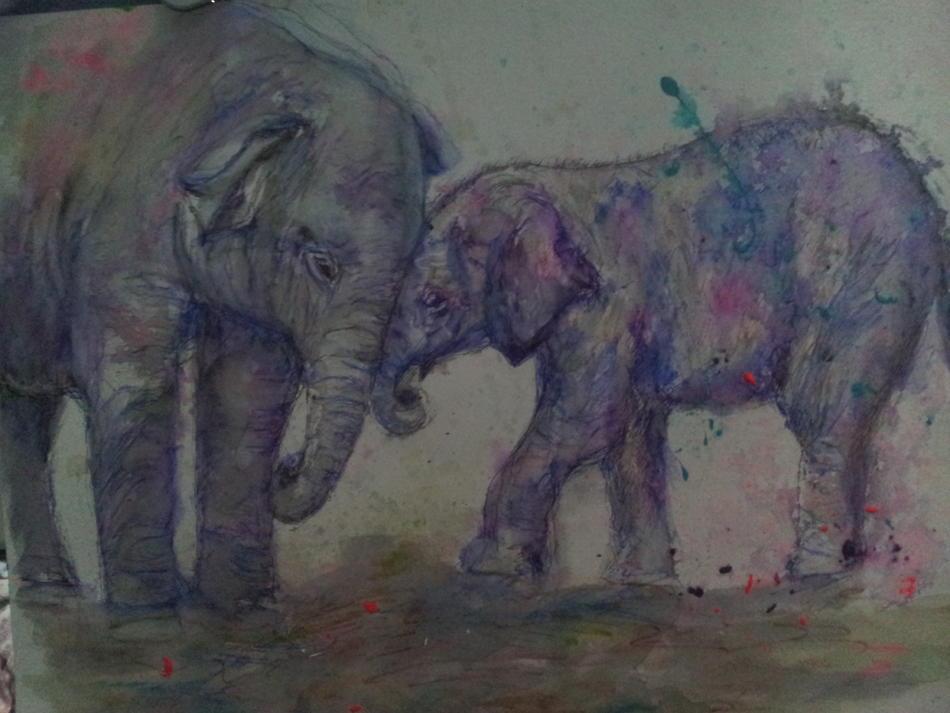 Elefantenkind mit Mama