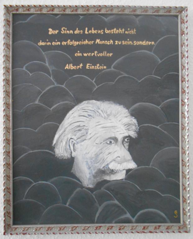 Einstein mit Spruch