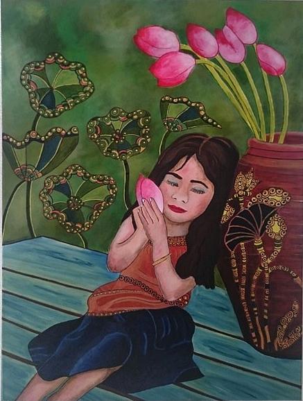 Mädchen mit Lotusblüte