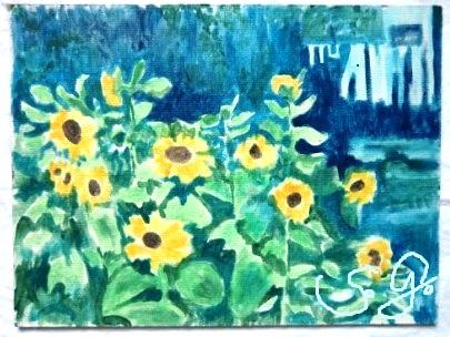 Sonnenblumen mit Wäsche auf der Leine