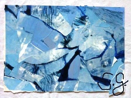 Collage in Blautönen