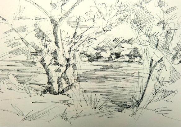 Landschaft mit Fineliner