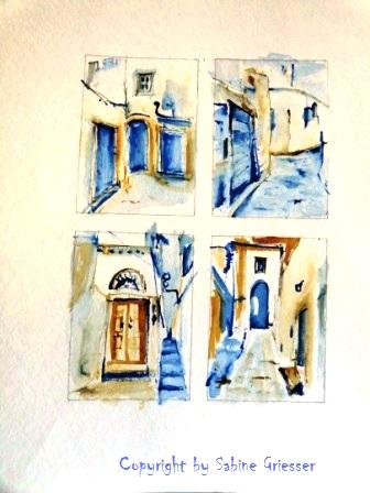 4 Postkarten, Schnellskizzieren mit Aquarellfarben