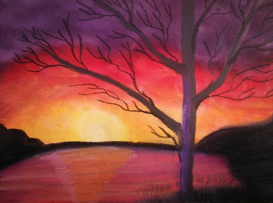 Baum am See im Sonnenuntergang