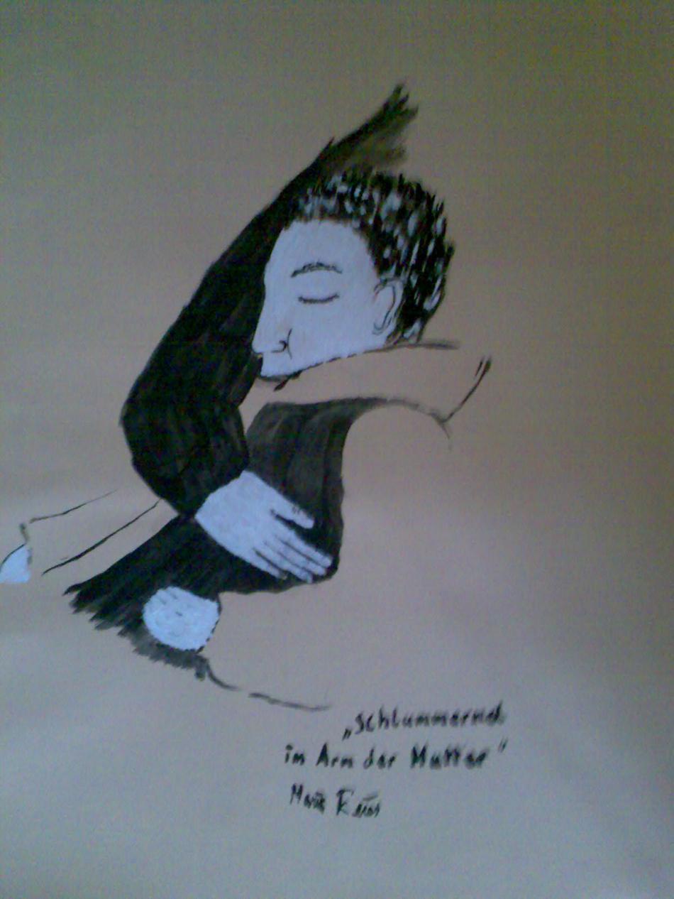 schlummernder Junge im Arm seiner Mutter