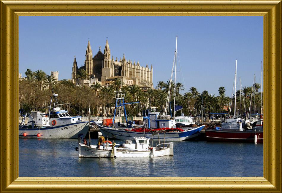 Fischerhafen Palma mit Kathedrale