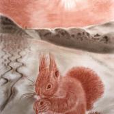 Eichhörnchen vor Skipiste