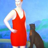 Frau mit Panther