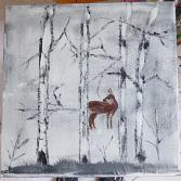 Reh im Birkenwald