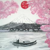 Kirschblüte unter der roten Sonne