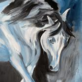 white horse in blue