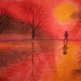 Spiegelungen im Sonnenuntergang