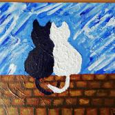 Cats in Love on Wall