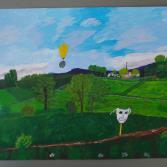 Landschaft mit Ballon und Maske