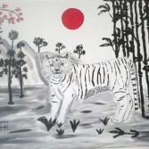 Weißer Tiger unter der roten Sonne