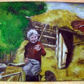 Alte Frau im Garten