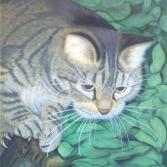 "Katze ""Schiwa"" (2000) Airbrush-Mischtechnik KVN 109"