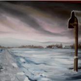 Wegkreuz im Winter (Letztes Licht)