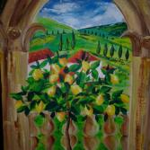 Zitronenbaum vor Bogenfenster Sommer Toscana Tuscany arched window With Lemon Tree Summer