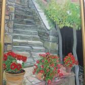 Alte Treppe u. Geranien