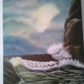 Große Welle am Felsen  45x60