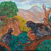 Auerhühner in Gebirgslandschaft