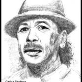 Tuschezeichnung Carlos Santana