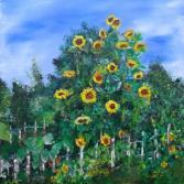 Sonnenblumen am Zaun - Sunflowers at the fence