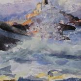 Gischt vor Leuchtturm - Norwegen