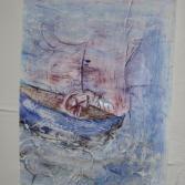 Koffer-Kunst-Boot mit Ruder