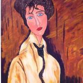 Frau mit schwarze Kravatte - nach Modigliani