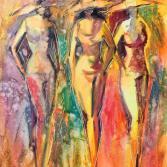 Drei Damen mit Hut