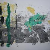 Abstraktion aus grau, grün und gelb