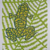Frosch auf Blatt sitzend (Farbvariante 2)