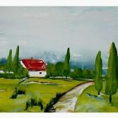 Landschaftsaquarell Das Einsame Haus