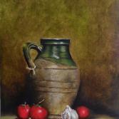 """Clay jug and tomatoes""."