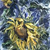 Sonnenblüme in Dämmerung