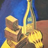 Flasche mit Holzklötzen